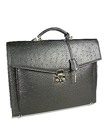 Fontanelli - Black Ostrich Stamped Calf Leather Briefcase