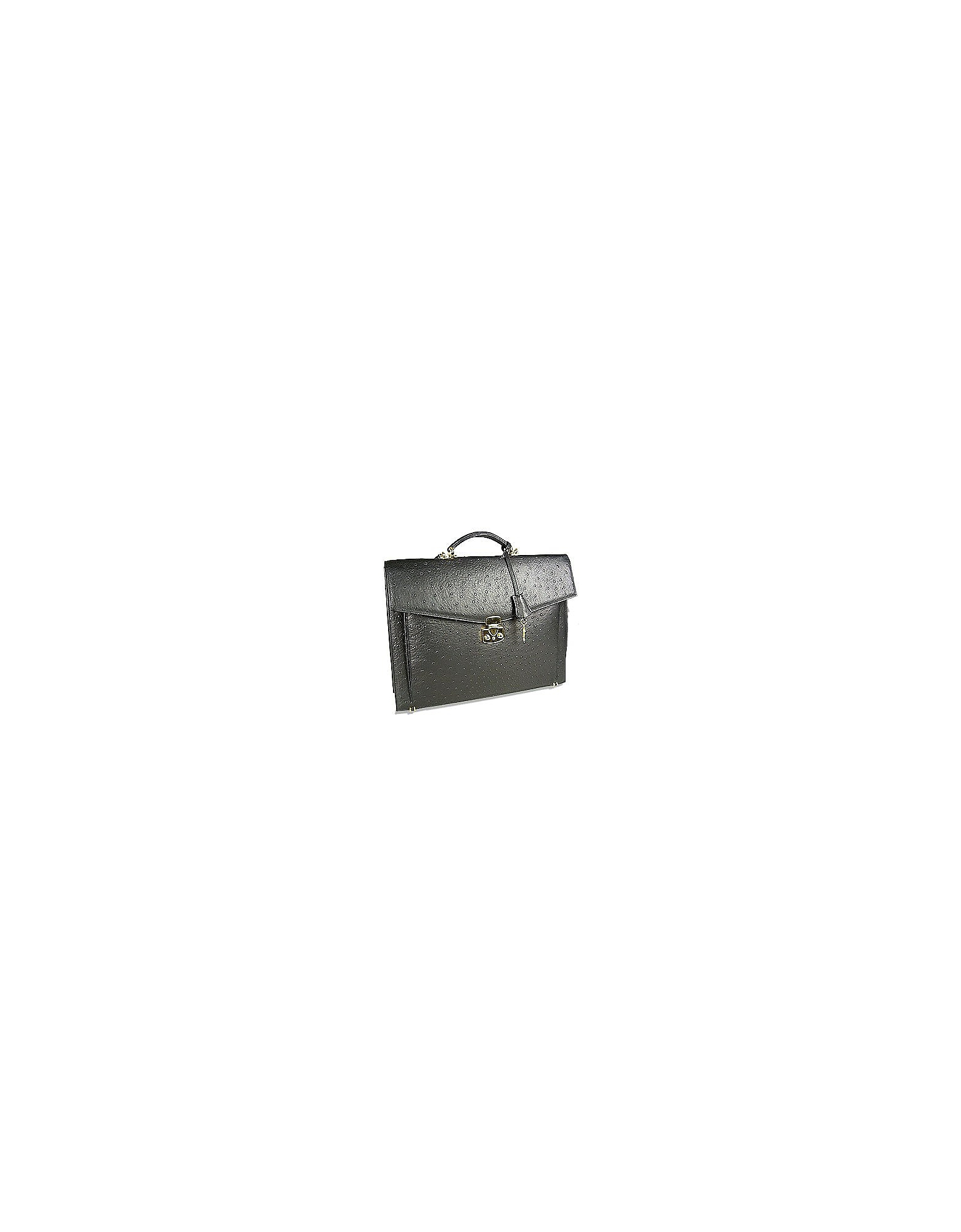 Black Ostrich Stamped Calf Leather Briefcase
