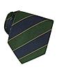 Navy Blue & Green Bands Woven Silk Tie  - Forzieri