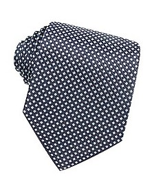 Blue Checks Basketweave Woven Silk Tie  - Forzieri