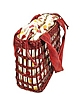 Capaf Cherry Red Wicker and Leather Tote Bag  - Forzieri
