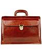 Cognac Italian Leather Buckled Medium Doctor Bag - Forzieri