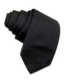 Solid Black Twill Silk Narrow Tie - Forzieri