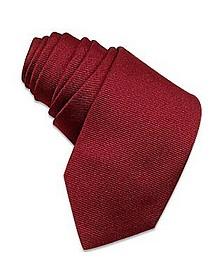 Solid Burgundy Twill Silk Narrow Tie - Forzieri