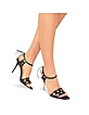 Black Italian Calf Leather Ankle-Strap Sandal Shoes - Forzieri