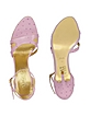 Lavender Ostrich Leather Ankle-strap Sandal Shoes - Forzieri
