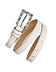 Jeweled Buckle White Calf Leather Skinny Belt - Ghibli