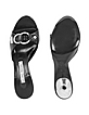 Black Front Crystal Buckle Kidskin Slide Shoes - Luciano Padovan