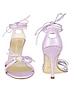 Lilac Lizard-embossed Leather Ankle-Wrap Sandal Shoes - Borgo degli Ulivi
