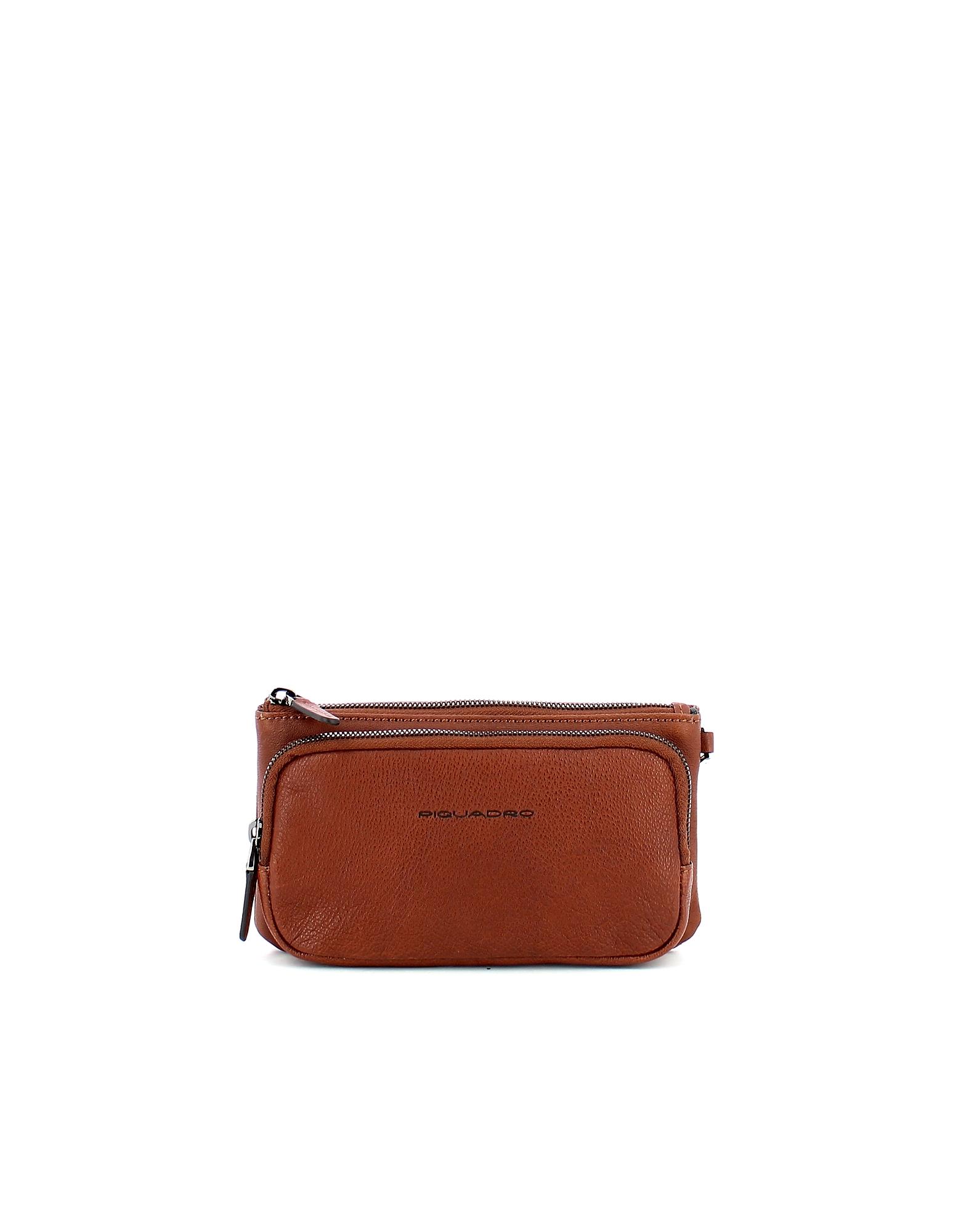 Piquadro Designer Travel Bags, Men's Brown Beauty Case
