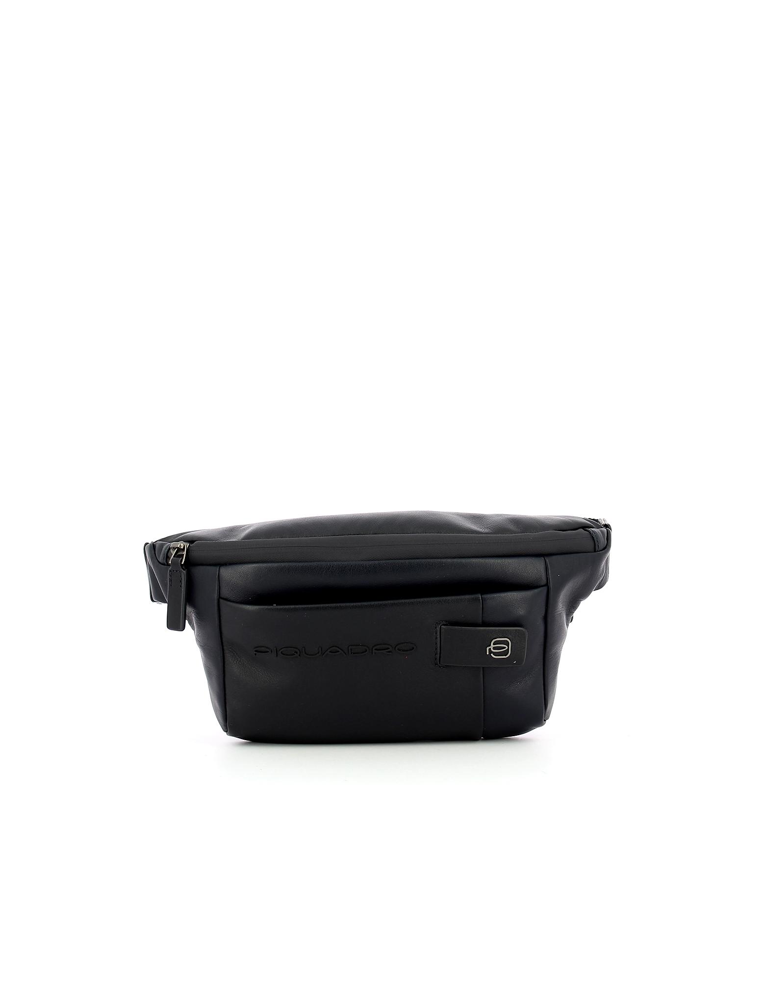 Piquadro Designer Men's Bags, Men's Blue Belt Bag
