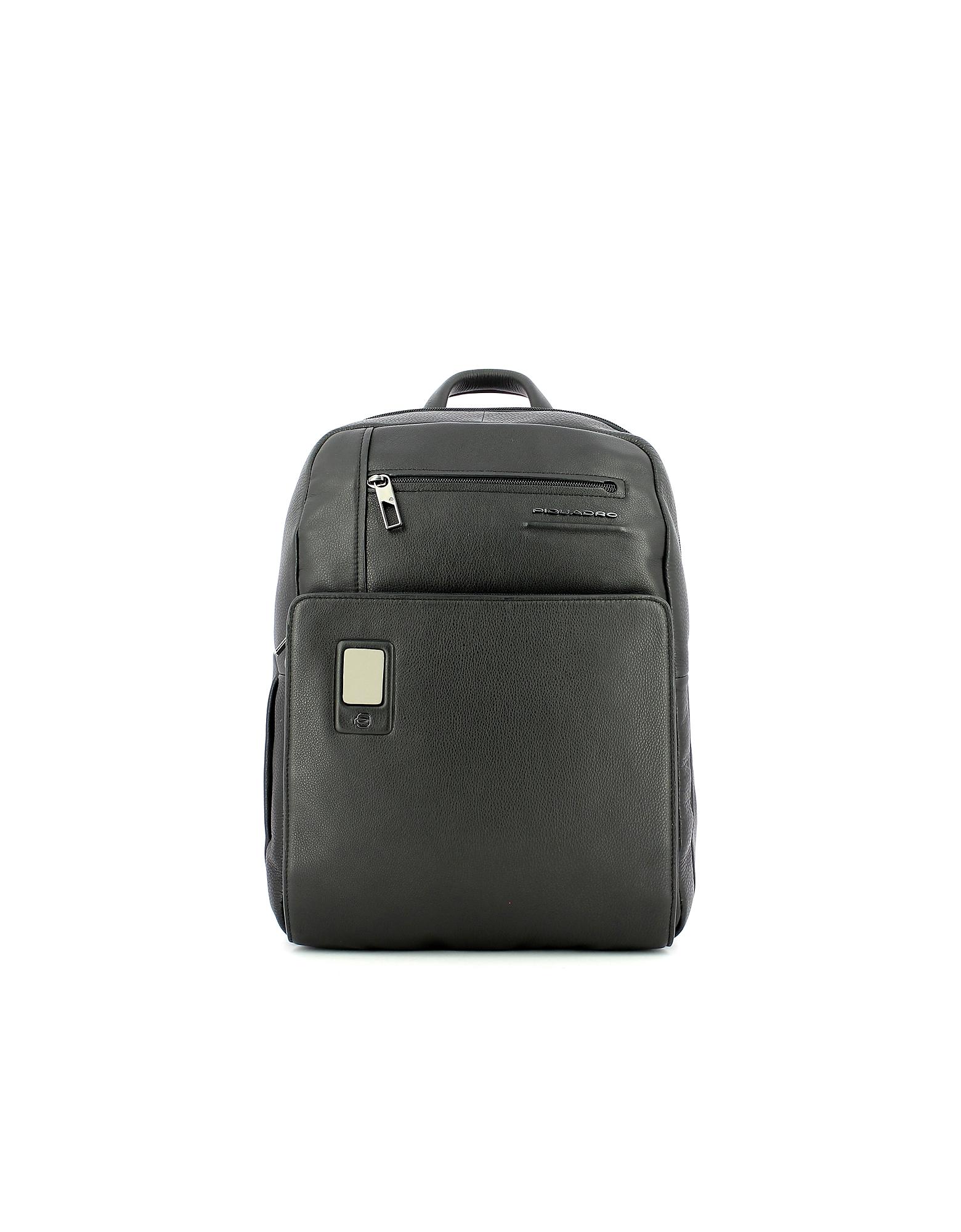 Piquadro Designer Men's Bags, Men's Black Backpack