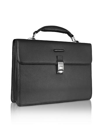 Modus - Black Leather Laptop Briefcase