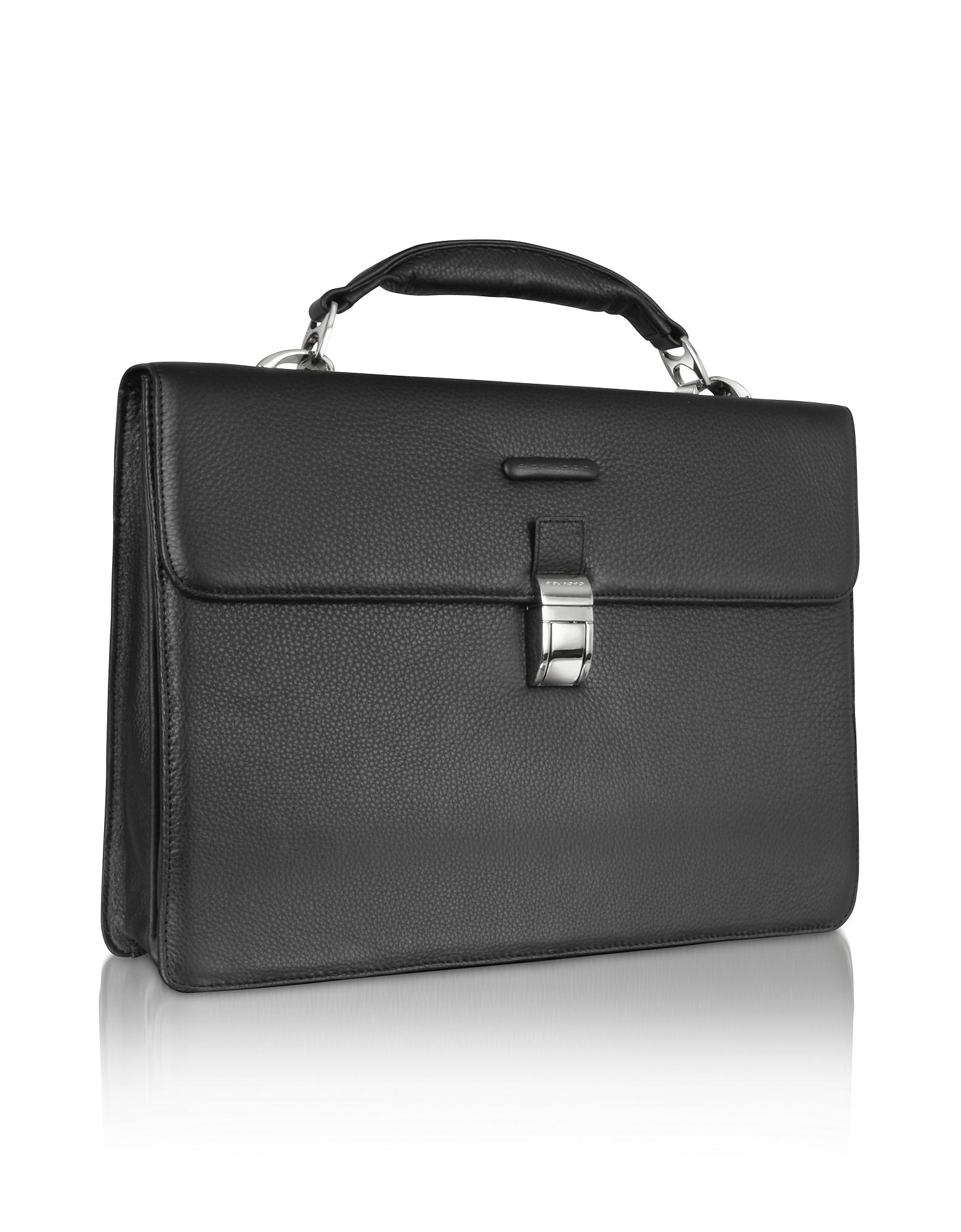 Piquadro Briefcases, Modus - Black Leather Laptop Briefcase