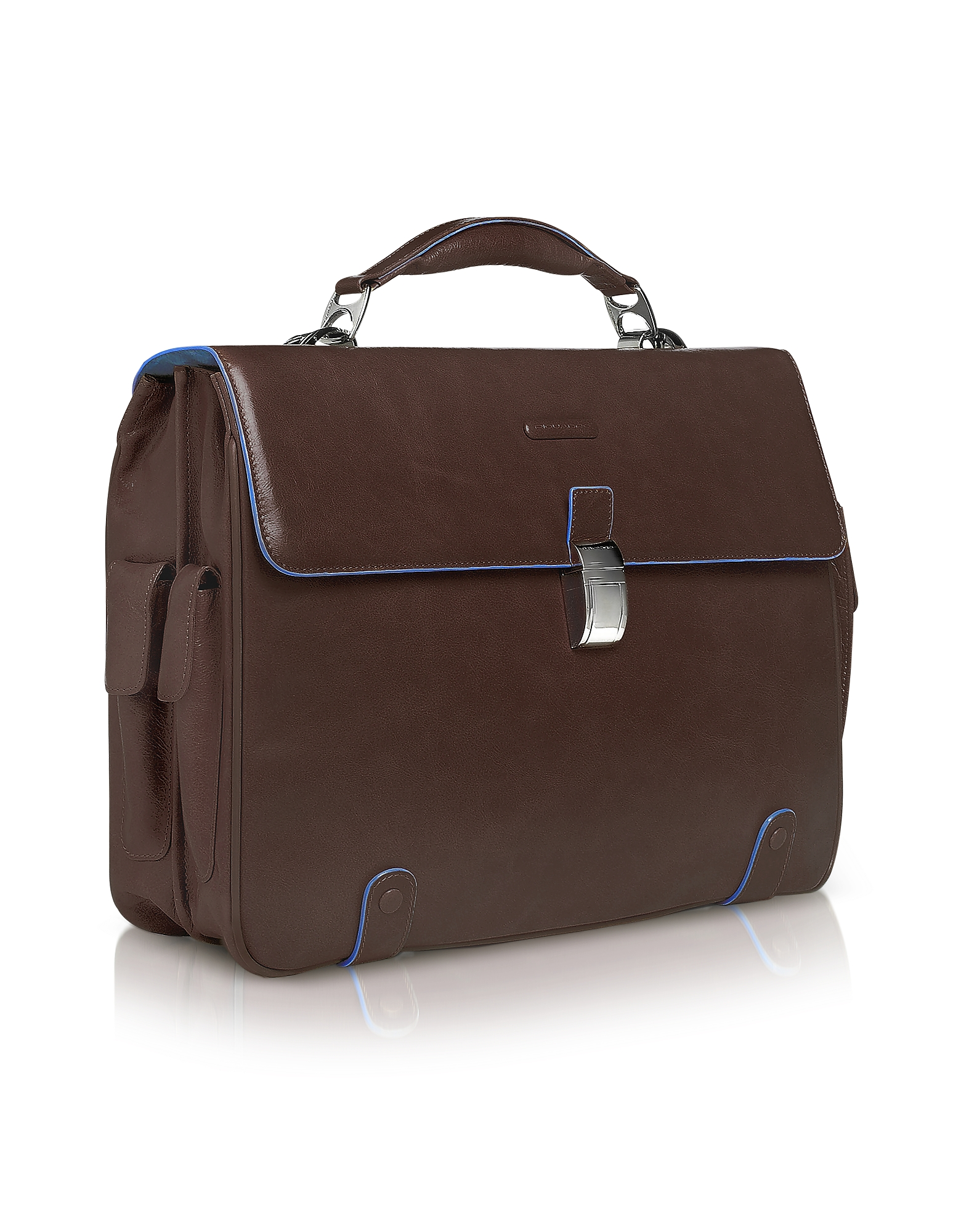 "Piquadro Briefcases, Blue Square - Leather 15"" Laptop Briefcase"