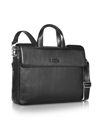 Modus - Expandable Black Calfskin Two-Handle Briefcase