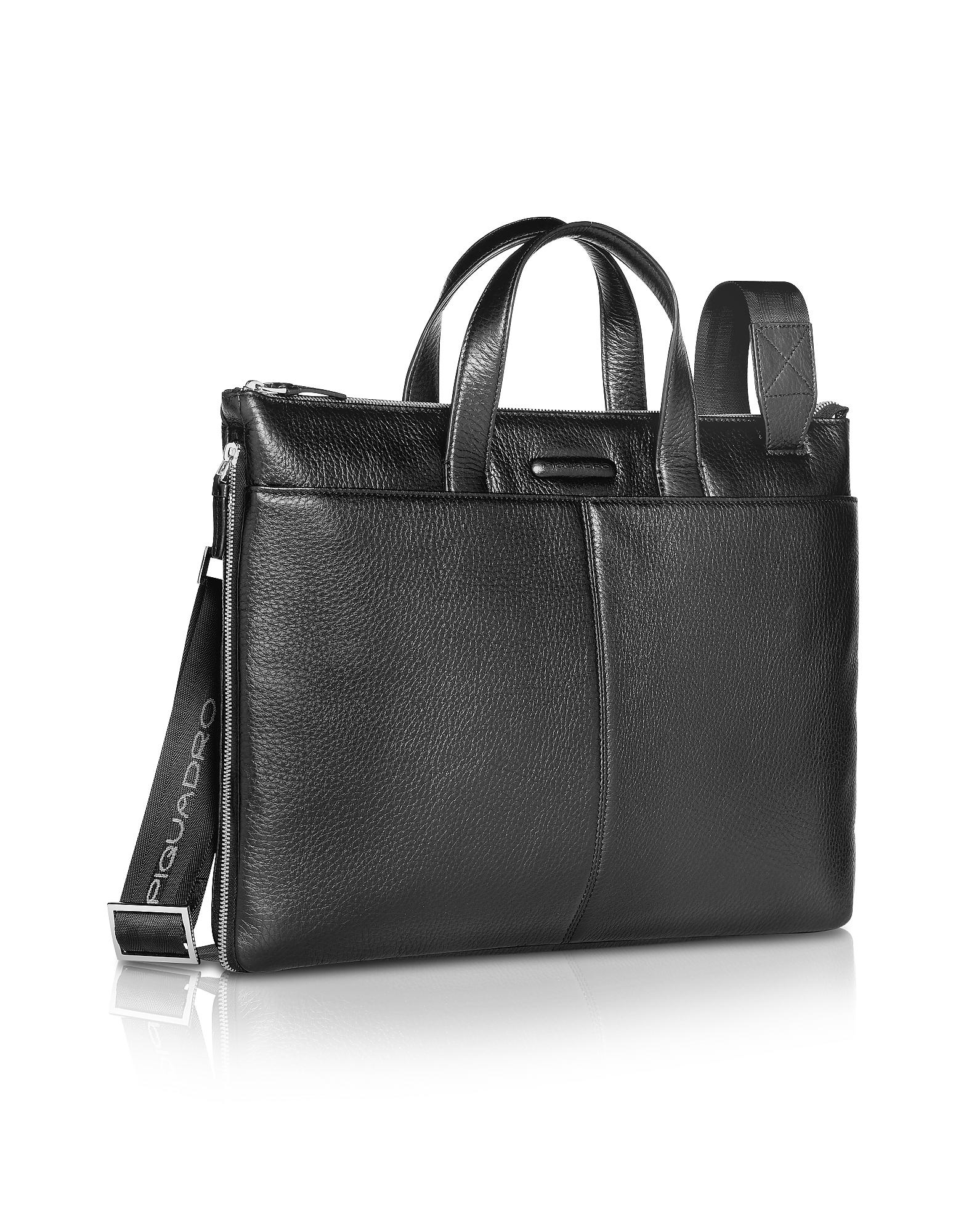 Piquadro Designer Briefcases,  Modus - Expandable Black Calfskin Slim Briefcase