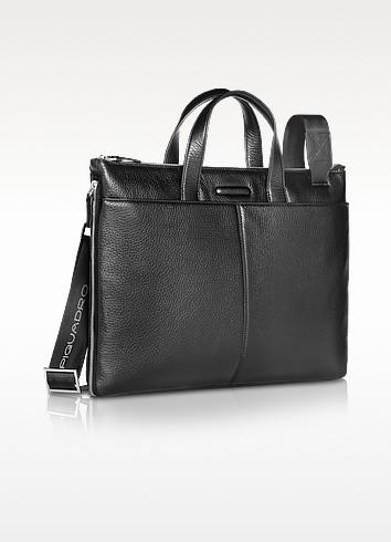 Modus - Expandable Black Calfskin Slim Briefcase - Piquadro
