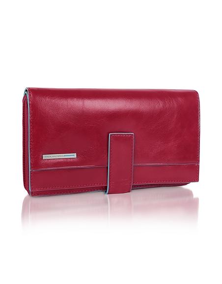Piquadro Blue Square - Aktentasche aus rotem Leder mit Reißverschluss