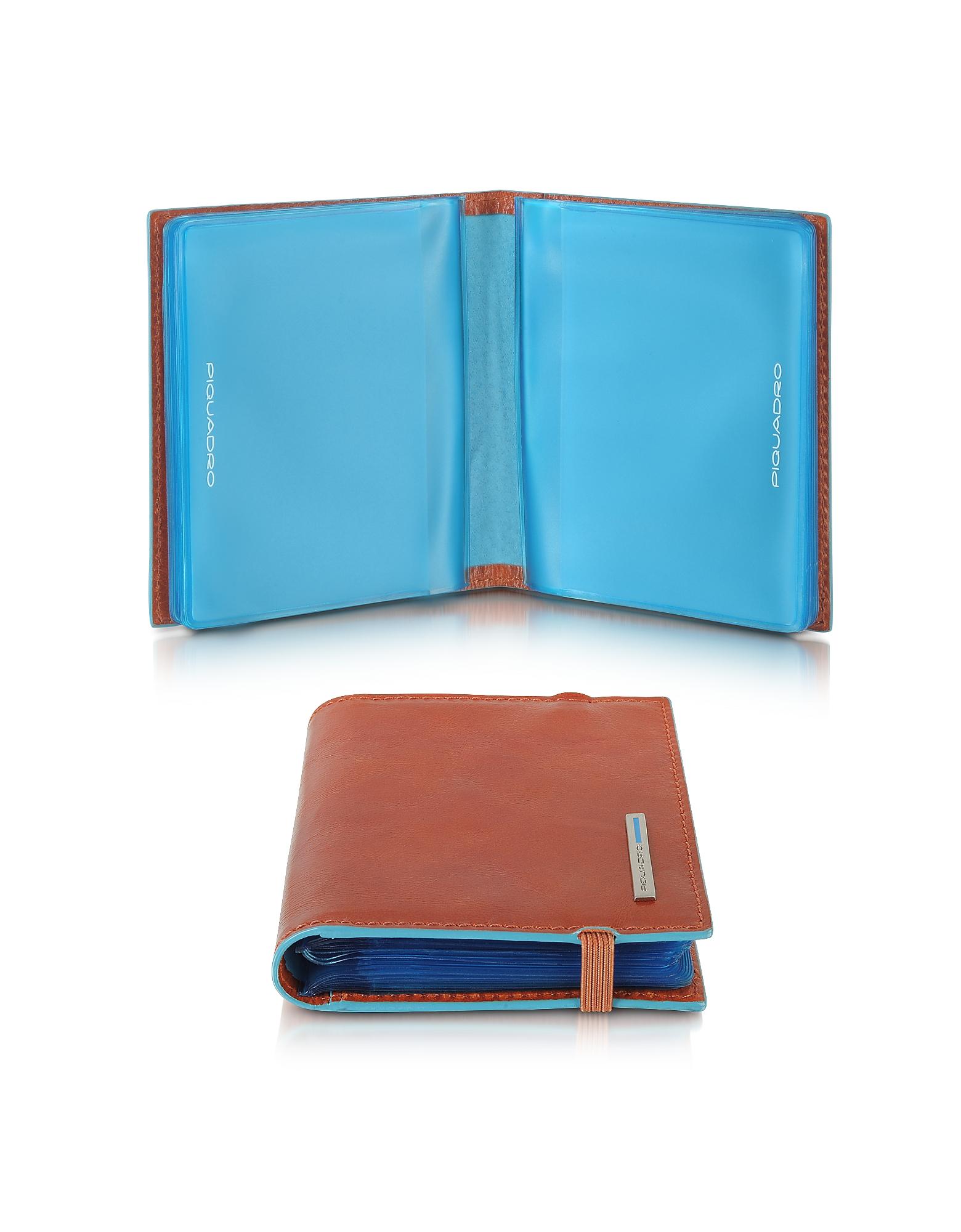 Синий Квадратный Кожаный Бумажник для Кредитных Карт