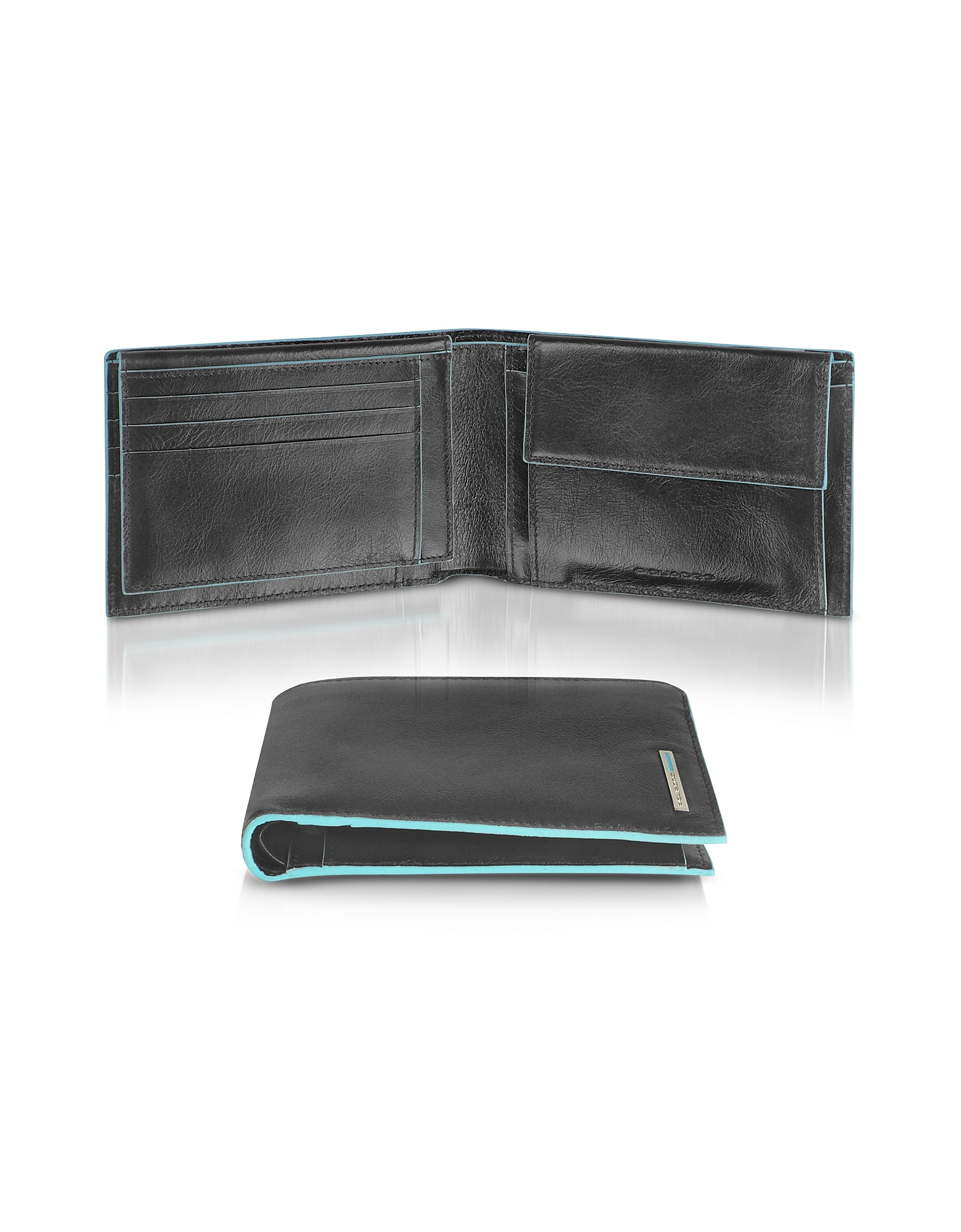 Piquadro Wallets, Blue Square - Men's Leather Card Holder & ID Wallet