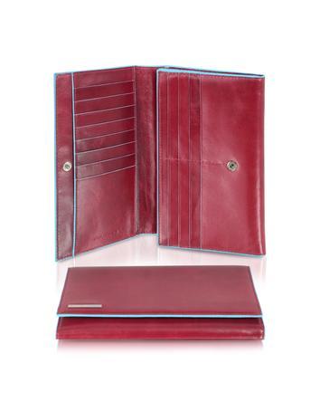 Blue Square - Women's Multi-Pocket Flap Leather Wallet