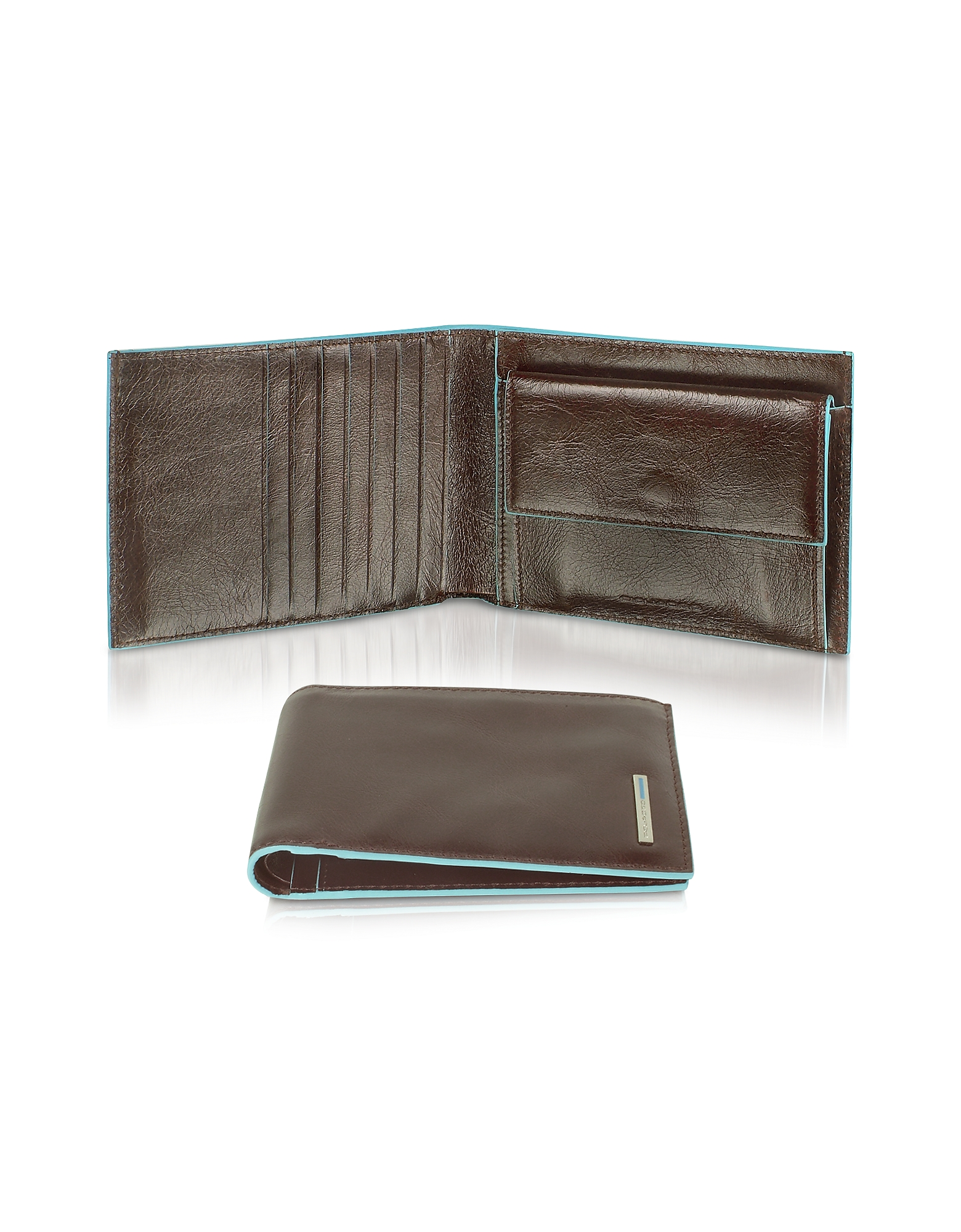 Piquadro Wallets, Blue Square-Men's Billfold Leather Wallet