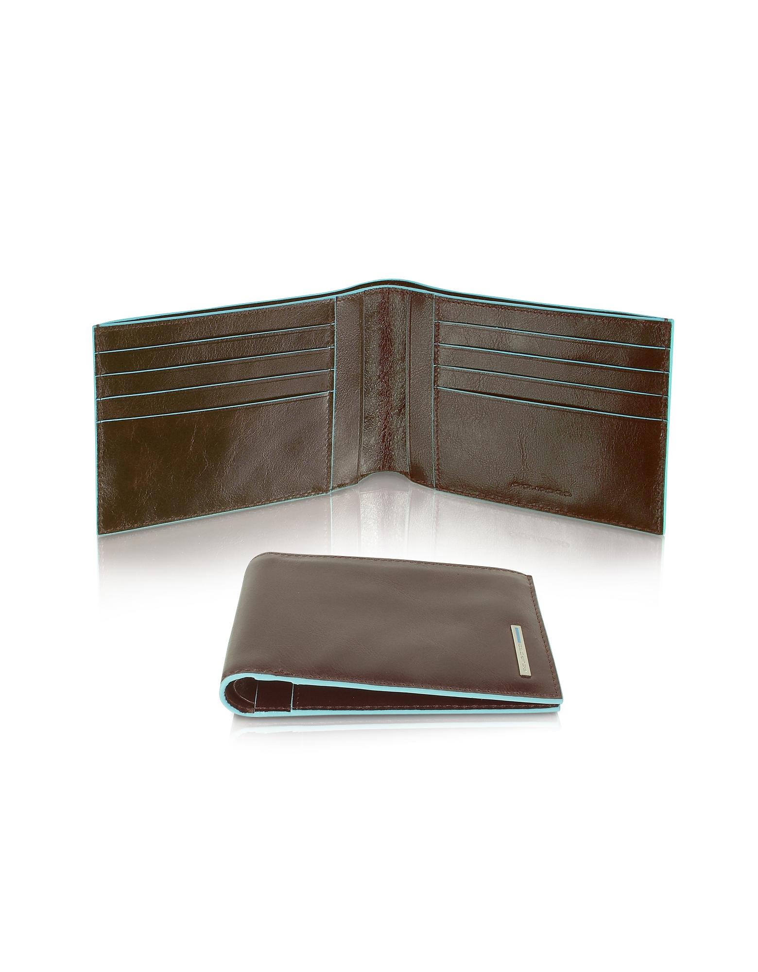 Piquadro Designer Wallets,  Blue Square-Men's Billfold Leather Wallet