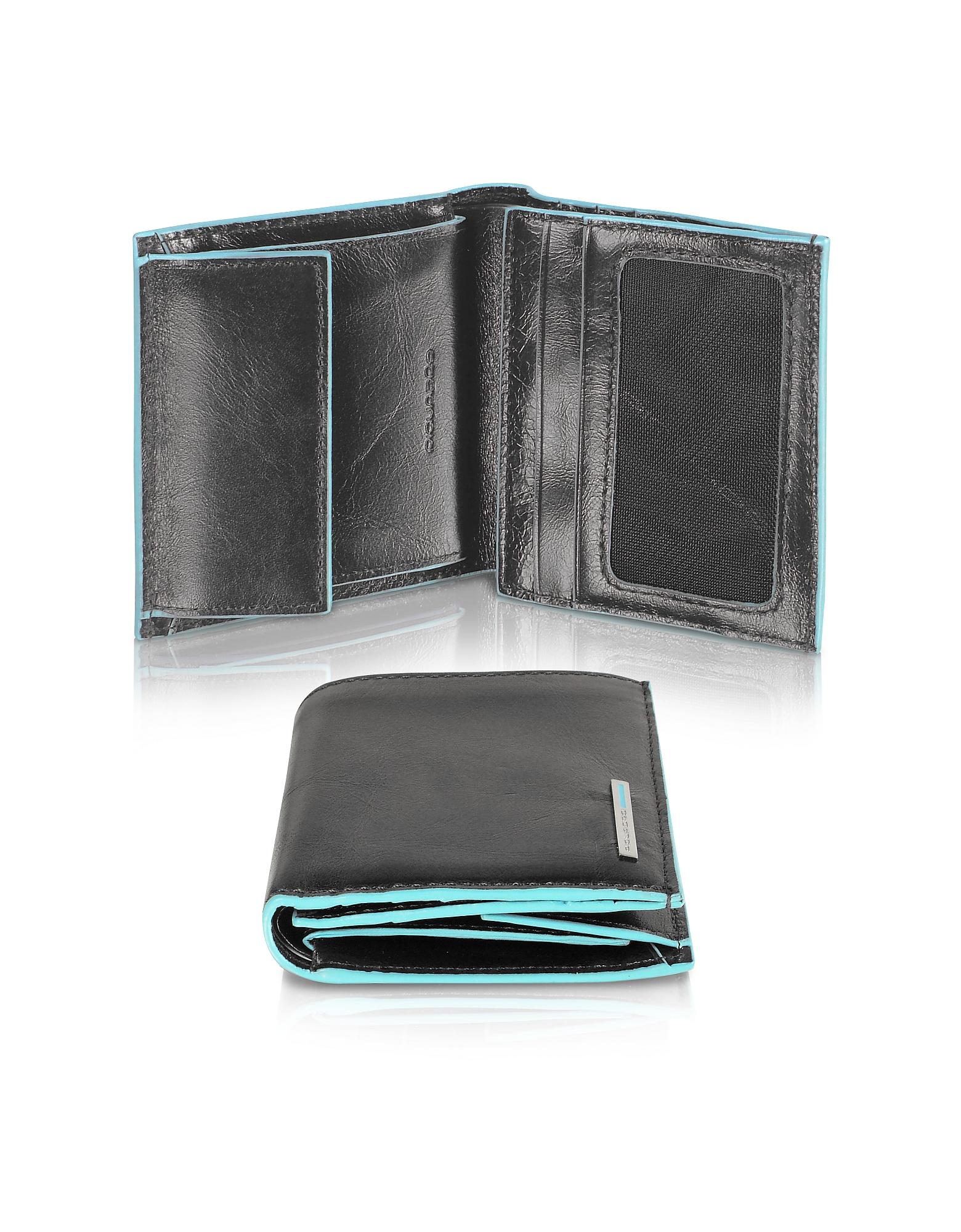 Piquadro Wallets, Blue Square-Men's Leather ID Wallet