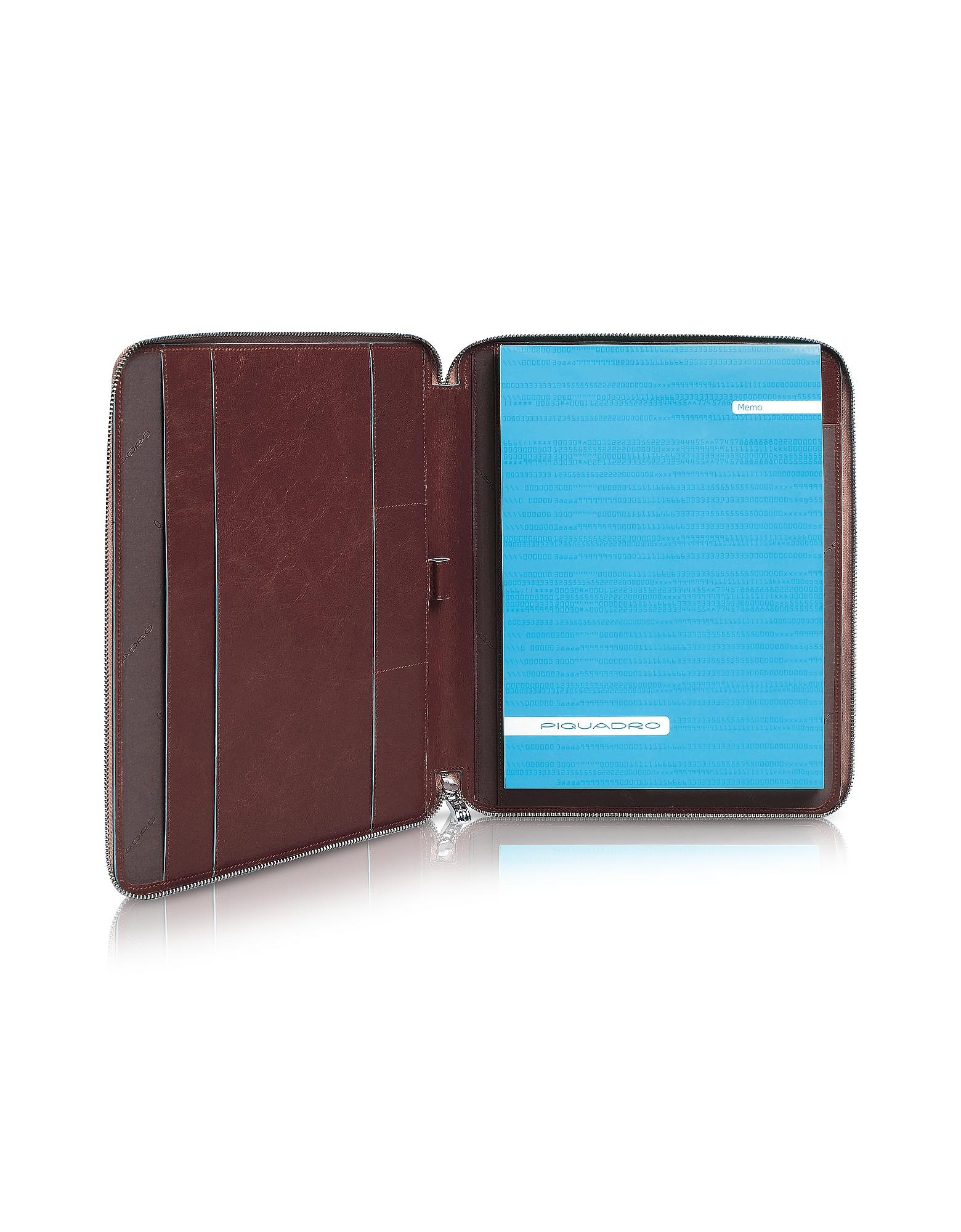Blue Square - Тонкая Кожаная Папка для Бумаг на Молнии