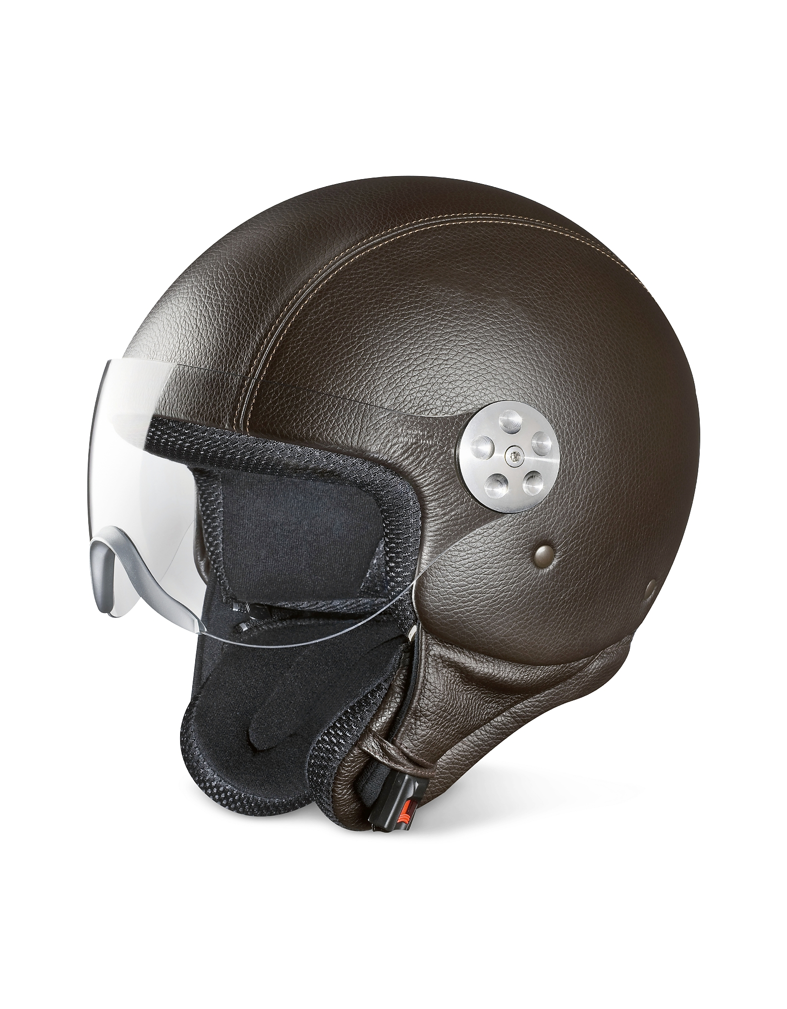 Open Face Dark Brown Leather Helmet w/Visor
