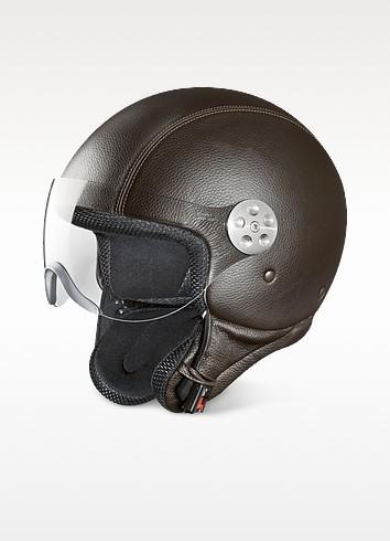 Open Face Dark Brown Leather Helmet w/Visor - Piquadro