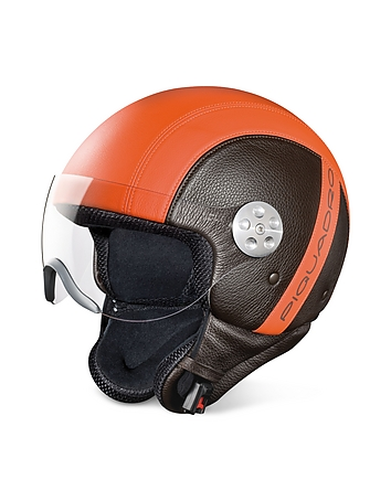 Open Face Two-tone Leather Helmet w/Visor pq17119-009-01