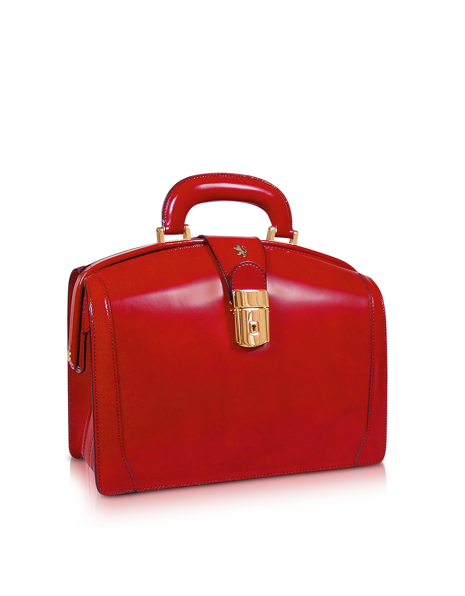 Ladies Polished Italian Leather Briefcase, Red