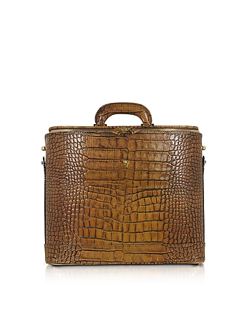 Pratesi - Croco Stamped Leather Laptop Business Bag w/Courtesy Light