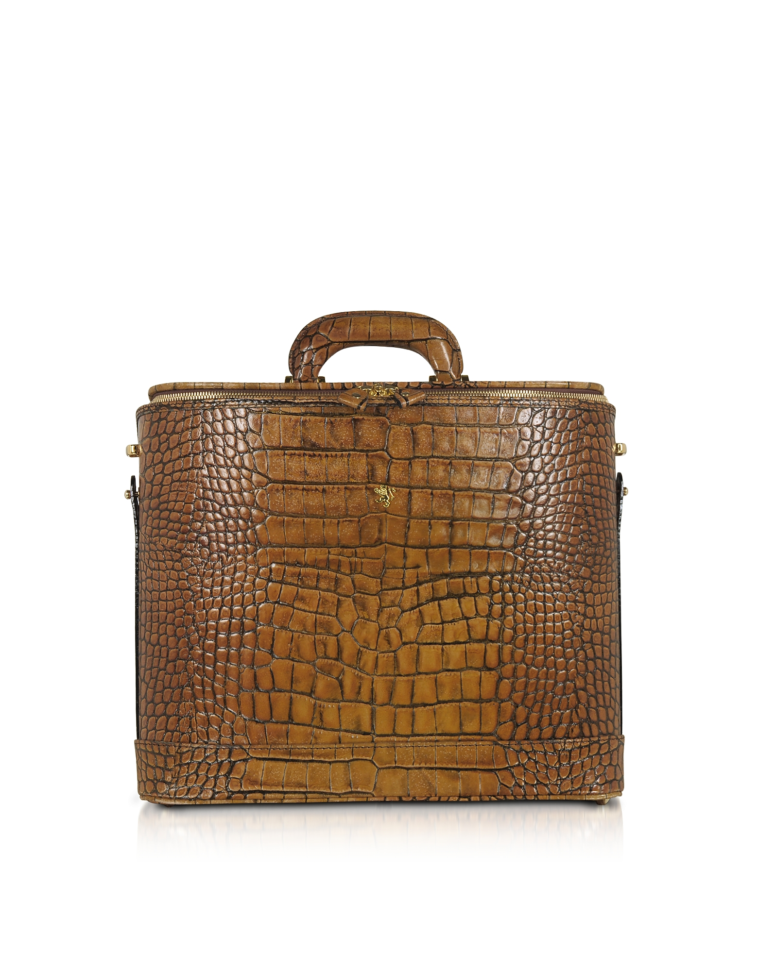 Pratesi Designer Briefcases,  Croco Stamped Leather Laptop Business Bag w/Courtesy Light