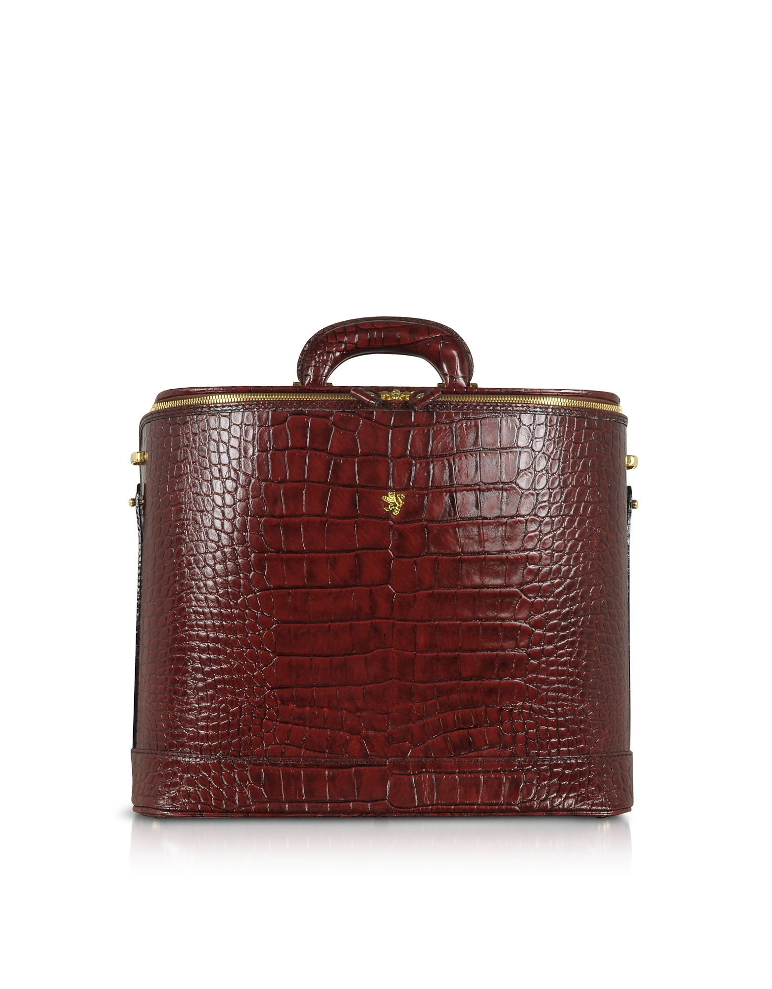 Croco Stamped Leather Laptop Business Bag w/Courtesy Light, Dark brown