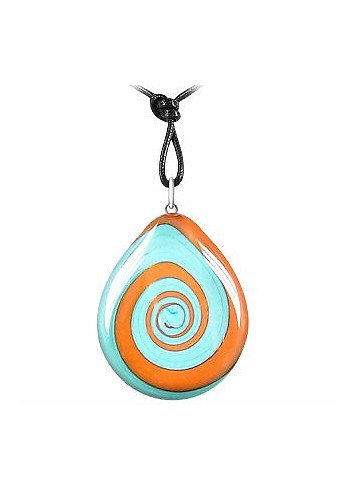Swirling Drop Murano Glass Necklace - Akuamarina