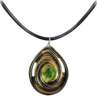 Aventurine Quartz & Murano Glass Drop Necklace
