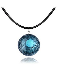 Silver Leaf and Murano Glass Round Pendant Necklace - Akuamarina