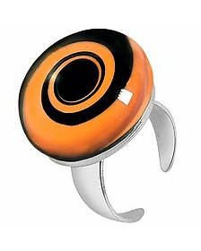 Swirling Murano Glass & Sterling Silver Open Ring - Akuamarina