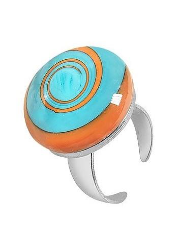 Größenverstellbarer Ring aus Silber und Muranoglas mit Spiraloptik - Akuamarina