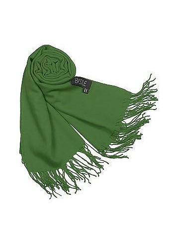 Fringed Solid Wool And Cashmere Pashmina Shawl - Basile