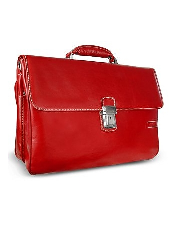 Men's Genuine Leather Double Gusset Briefcase