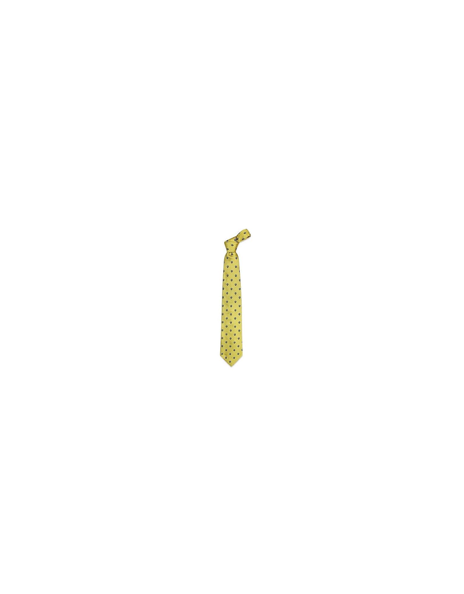 Forzieri Ties, Gold Line - Florentine Fleurs-de-Lis Woven Silk Tie