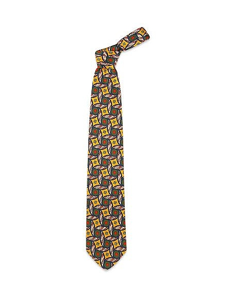 Foto Forzieri Cravatta in seta con stampa a cerchi e diamanti multicolor Cravatte
