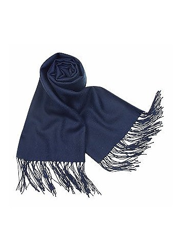 Solid Wool Fringed Long Scarf - Forzieri