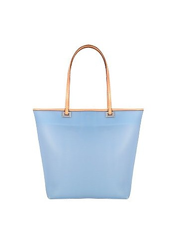 Medium Italian Tote Jelly Bag with Leather Trim - Forzieri