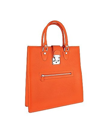 L.A.P.A. - Front Zip Calf Leather Large Tote Handbag