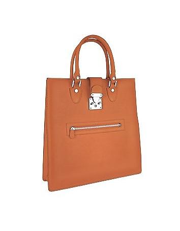 L.A.P.A. - Front Zip Calf Leather Large Tote Handbag